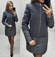 Пальто, арт 137, ткань кашемир + плащевка, цвет темно-серый, фото 1