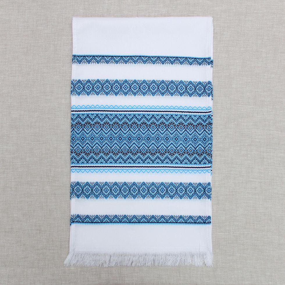 Тканый льняной рушник  Волинські візерунки с голубым орнаментом 150 см