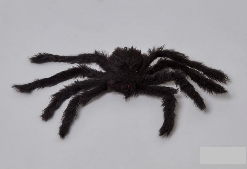 Паук черный 30см декор на Хэллоуин