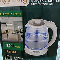 Стеклянный электрический чайник Rainberg RB-902, фото 1