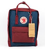 Городской Рюкзак Fjallraven Kanken 16л Classic Бордовый темно-синим карманом, фото 1