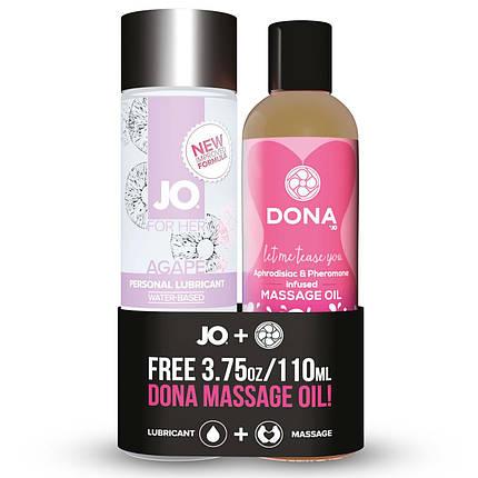Подарочный набор лубрикант System JO Agape (120мл) + массажное масло DONA Flirty (110мл), фото 2