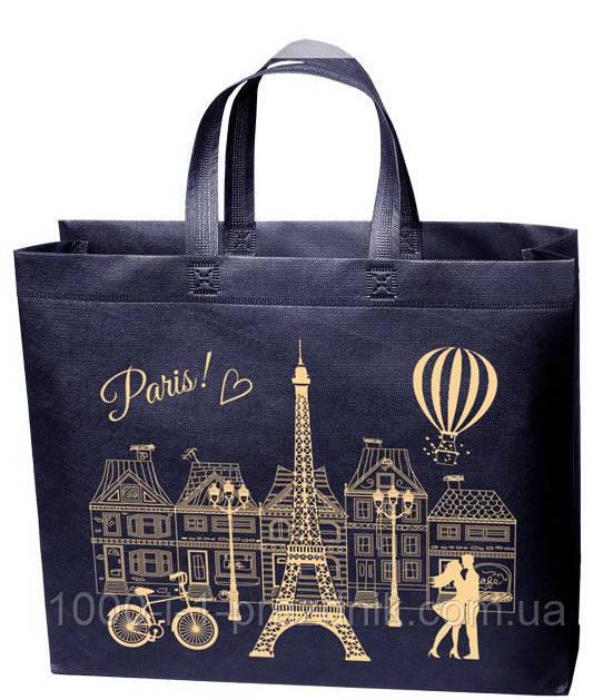 Эко сумка стандарт 38.5*32 см Париж короткая ручка