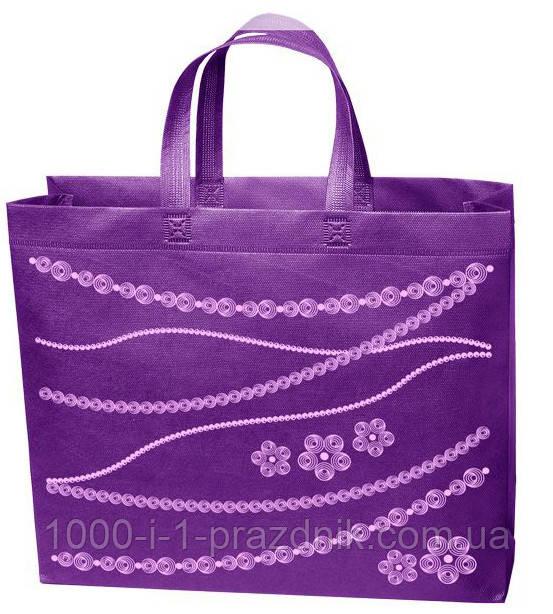 Эко сумка стандарт 38.5*32 см Цветы фиолетовая короткая ручка