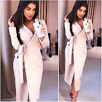 Платье-халат цвета пудры Janett (Код MF-413)