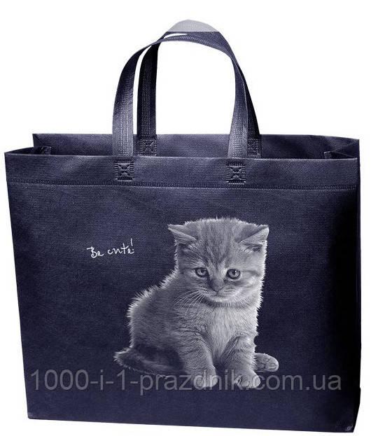 Эко сумка стандарт 38.5*32 см Котик короткая ручка