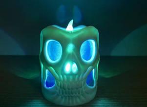 Свеча двухсторонняя Светящийся череп Хэллоуин (12 штук в коробке)