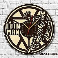 Часы Iron Man Железный человек Тони Старк силуэт Часы настенные Tony Stark Часы деревянные Герой Марвел