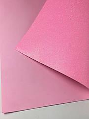 Фоамиран листовой с глитером 50 х 50 см нежно-розовый