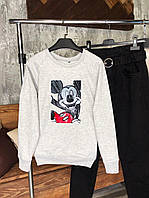 Женский свитшот серый с рисунком Микки Мауса