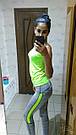 Лосины для фитнеса леггинсы для спорта серые салатовые спортивные №35 — (M), фото 6