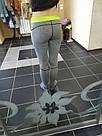 Лосины для фитнеса леггинсы для спорта серые салатовые спортивные №35 — (M), фото 8