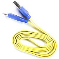 Кабель с подсветкой Lesko microUSB/USB 1 m Желтый для смартфона планшета