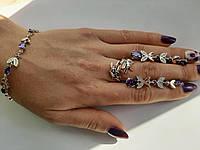 """Гарнитур кольцо серьги браслет Золото с серебром""""Амур"""", фото 1"""