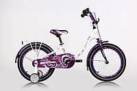 """Велосипед детский ARDIS DIANA 18"""" Белый/Фиолетовый + боковые колеса + багажник"""