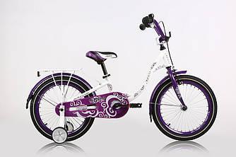 """Велосипед дитячий ARDIS DIANA 18"""" Білий/Фіолетовий + бокові колеса + багажник"""