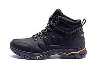 Мужские зимние кожаные ботинки Jack Wolfskin New Black (реплика), фото 1