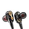 Наушники вакуумные с двумя динамиками и микрофоном, чёрные - Фото