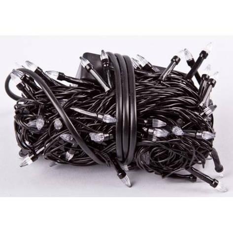 Гирлянда чёрный шнур 100 Led конусные лампочки,синяя, фото 2
