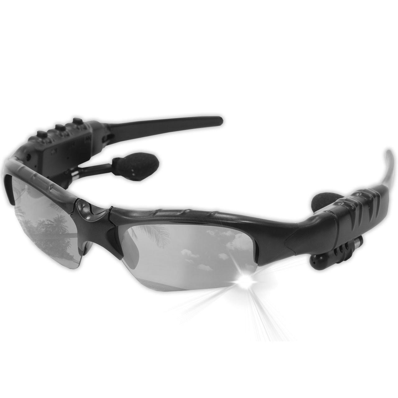 ☀Bluetooth гарнитура очки Lesko LK-086 Black солнцезащитные плеер наушники mp3 блютуз 4.1 батарея 100 мАч