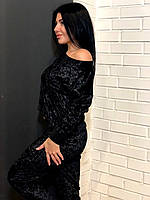 Черный велюровый костюм штаны+кофта, теплая домашняя одежда.