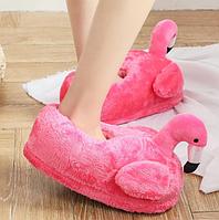 Плюшевые домашние тапочки Фламинго розовые универсальный размер 36-41 стелька 27