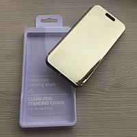 Золотой зеркальный чехол-книжка с функцией подставки для Samsung J6+ 2018