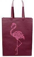 Эко сумка стандарт 32*40 см Фламинго короткая ручка