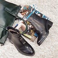 Ботинки женские зимние из натуральной кожи и натурального меха на каблуке черные, фото 1