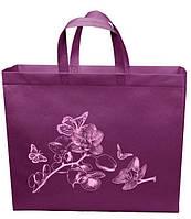 Эко сумка XXL 42*35 см Орхидея короткая ручка