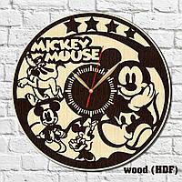 Часы для детей Микки Маус Эко часы Детские часы Часы в детскую комнату Часы из дерева Mickey Mouse 300 мм