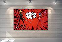 """Плакат для Кенді - бару 120х75 см (Тематичний) """"Леді Баг"""" (червоний) -"""