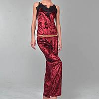 Женская пижама брюки/майка мраморный велюр M-7003 бордо