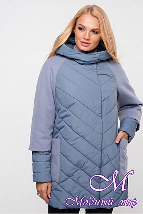 Осенняя женская куртка (р. 42-54) арт. Фаина серо-голубой, фото 2