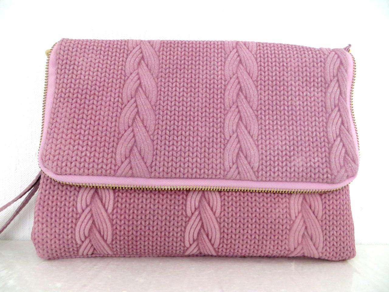 Стильная женская сумочка-клатч 100% кожа. Италия.  Розовый, фото 1