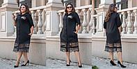 Длинное женское платье-рубашка из французского трикотажа с отделкой кружева  48, 50, 52, 54, 56, 58, 60, 62