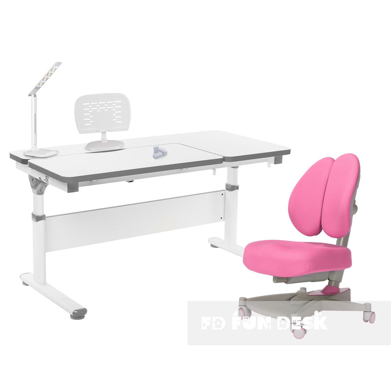 Комплект парта Creare Grey + дитяче ортопедичне крісло Contento Pink FunDesk