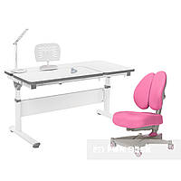 Комплект парта Creare Grey + дитяче ортопедичне крісло Contento Pink FunDesk, фото 1