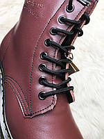 Ботинки женские С МЕХОМ Dr Martens 1460 Smooth VEGAN Cherry / Доктор Мартинс, бордовые
