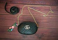 Женская бананка, поясная сумка гучи, Gucci, кроссбоди. Черная / 88102 G