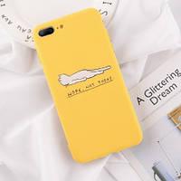 Чехол на Iphone 7,8 PLUS, X, XS силиконовый, жёлтый, прочный, гибкий, с котиком, яркий