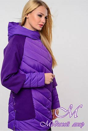 Стильная женская осенняя куртка (р. 42-54) арт. Фаина темная сирень, фото 2