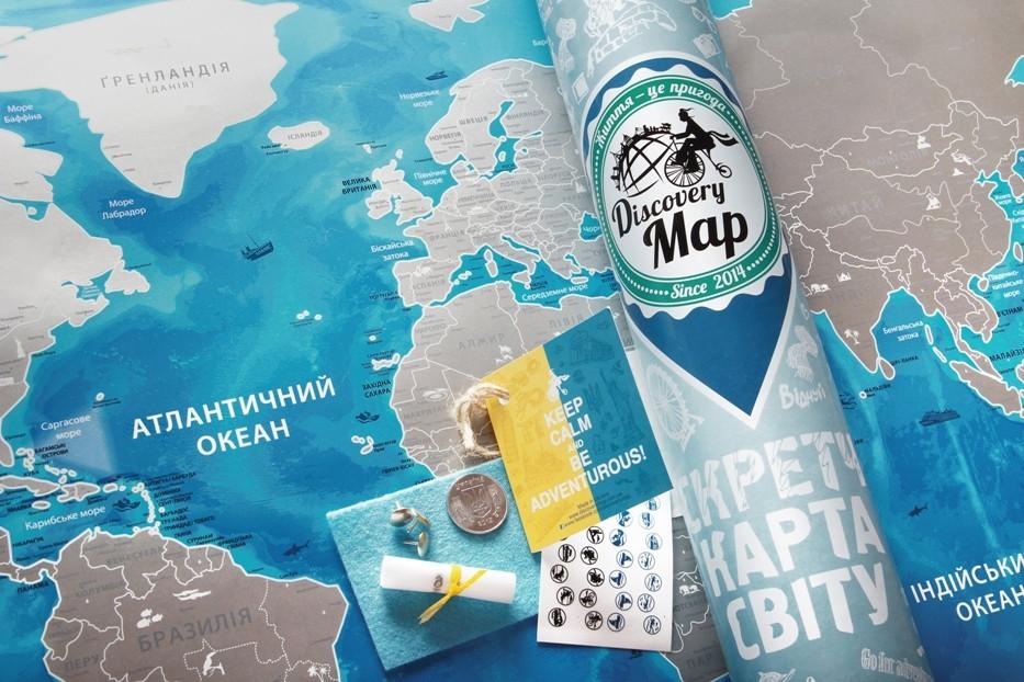 Scratch map: Discovery Map World настенная скретч - карта в подарочном тубусе  на украинском языке