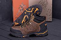 Мужские зимние кожаные ботинки Jack Wolfskin New Olive (реплика)