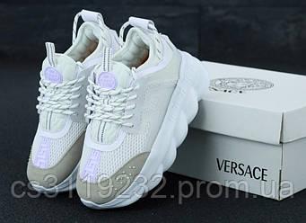 Мужские кроссовки Versace Chain Reaction (белые)