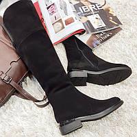Ботфорти чоботи жіночі зимові з натуральної замші та натурального хутра на плоскій підошві чорні