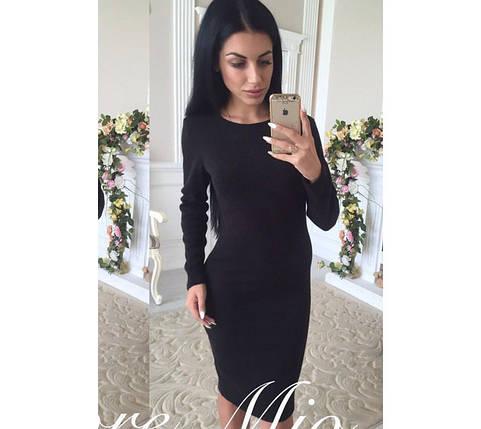 Приталенное классическое платье миди черное, фото 2