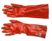 Перчатки красные ПВХ длинные