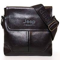 Мужская сумка через плечо Jeep. Черная. 21см х 19см / Кожа PU