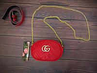 Женская бананка, поясная сумка гучи, Gucci, кроссбоди. Красная / 88103 G